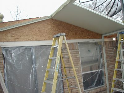 Gable roof sunroom construction